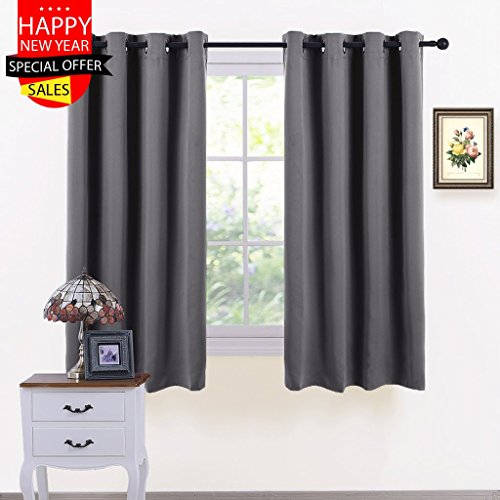 Thermal Insulated Eyelet Blackout Curtains - PONY DANCE Short Window Treatments Blackout Curtain Draperies for Kitchen Living Room Bedroom Bay Window / Home Decoration, 2 Pcs, W 46' x L 54', Grey