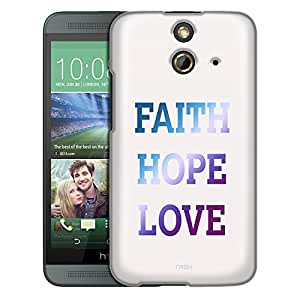 HTC One E8 Case, Slim Fit Snap On Cover by Trek Faith Hope Love on White Trans Case