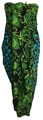 Sarong Wrap From Bali Your Choice of Design Beach Cover Up (Peacock Teal/Green)