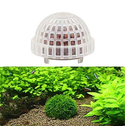 Y56 Bola de plástico para acuario con forma de camarón para peces, moisés, bola de musgo, para decoración de plantas vivas, filtros transparentes, ...