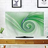 iPrint LCD TV dust Cover Strong Durability,Spires,Curve Winds Around Fixed Center Point Continuously Increasing Spirals Computer Figure,Green,Picture Print Design Compatible 70'' TV