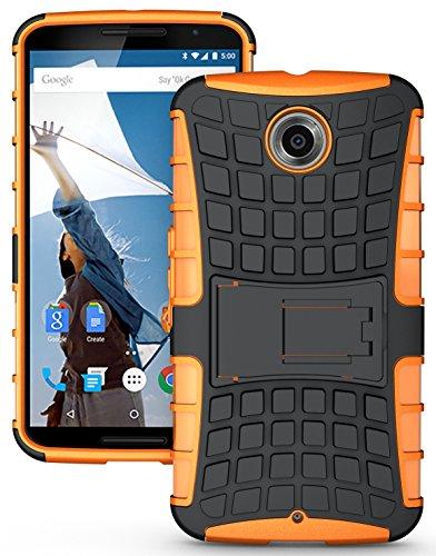 NAKEDCELLPHONE'S NEON ORANGE GRENADE GRIP RUGGED TPU SKIN HARD CASE COVER STAND FOR GOOGLE/MOTOROLA NEXUS 6 PHONE (AT&T, SPRINT, T-MOBILE, US CELLULAR, VERIZON, UNLOCKED) (Google Nexus 6 Us Cellular)