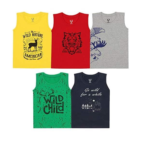 Elk Kids Boy's Round Neck Printed Sleeveless 100% Cotton Tshirts Pack of 5