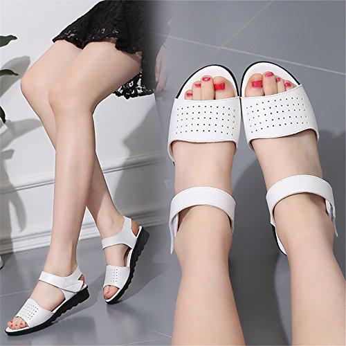 Sandalias planas suave hembra en el extremo con las mujeres embarazadas madre calzado antideslizante C09 blanco