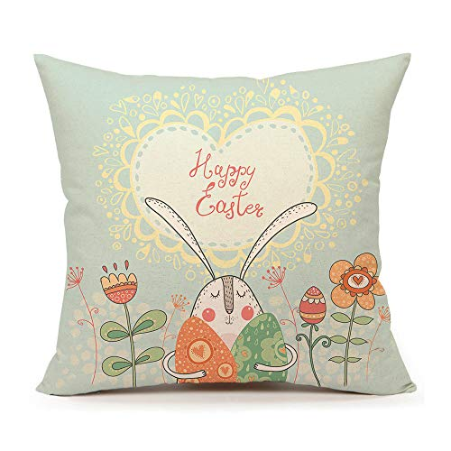 4TH Emotion Easter Rabbit with Eggs and Flowers Home Decor Throw Pillow Case Cushion Cover 18 x 18 Inch Cotton Linen
