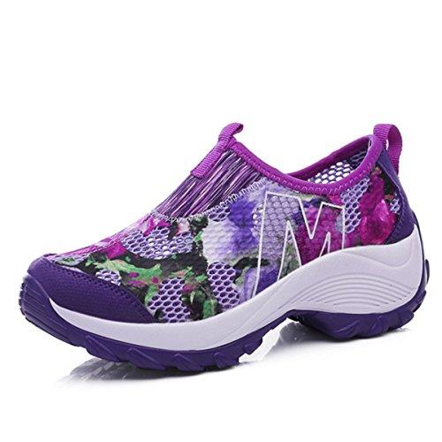 - gracosy Mesh Breathable Shoes,Slip-On Sneakers Pool Beach Flower Platform Rocker Sole Casual Walking Shoes Purple 9 B(M) US
