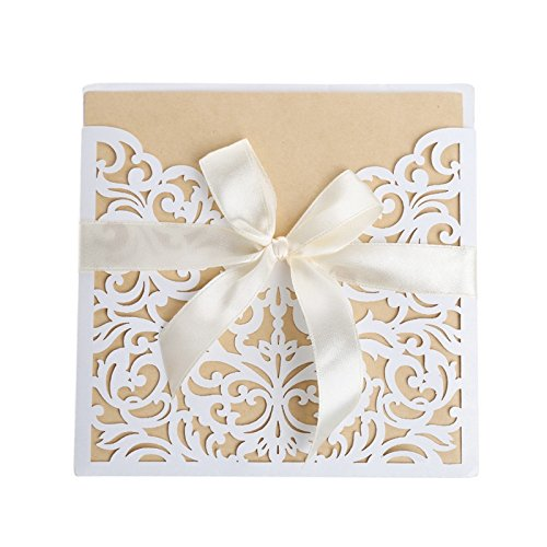 Thobu Gift Mother's Day, Father's Day 10Pieces Wedding Invitation Cards Kit with Envelopes Seals Personalized Printing ()