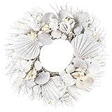 White Seashell and Branch Wreath Coastal Home Decor - Nautical Decor - Beach Cottage Decor Resin