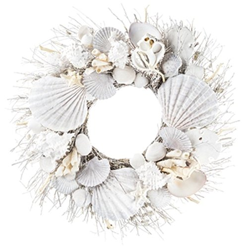 White Seashell and Branch Wreath Coastal Home Decor - Nautical Decor - Beach Cottage Decor Resin (Decor Nautical Cottage Beach)