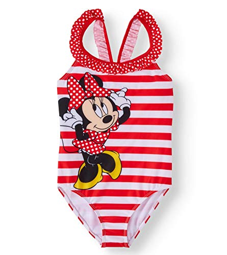 Girls Disney Minnie Mouse One Piece Swimsuit - 4/5 (Swimsuit Piece One Disney)