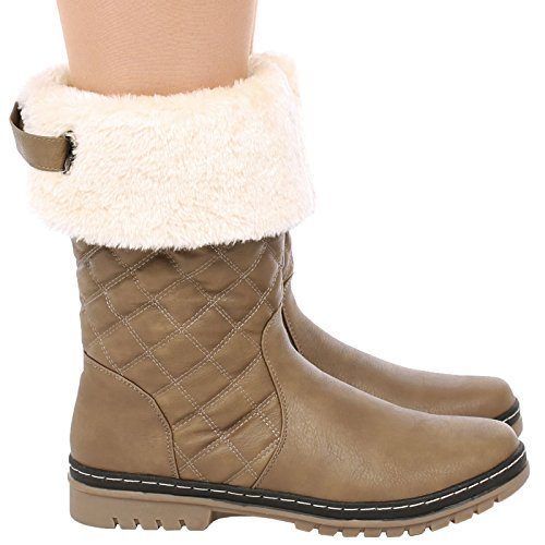 Shoes Boot Mid Womens Sole Khaki Fur New Faux Quilted Thick Calf S2A Ladies Lined q6nSC7w