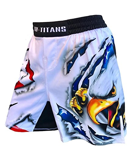 (USA Ultimate Eagle Fight Shorts Youths & Mens (Adult M: Waist- 32