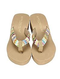 Gillberry Summer Platform Sandals Beach Flat Wedge Patch Flip Flops Lady Slippers
