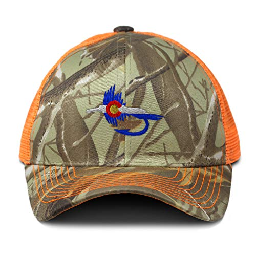 Speedy Pros Camo Mesh Trucker Hat Colorado Flag Fishing Fly Embroidery Cotton Neon Hunting Baseball Cap Strap Closure One Size Orange Camo Design Only