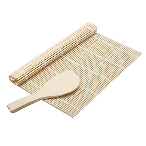 JD Million shop 2017 1 Set Sushi Rolling Mat Roller Bamboo Material Mat Maker DIY And A Rice Paddle Sushi Tools Cooking tool kitchen (Halloween Nail Art Designs 2017)