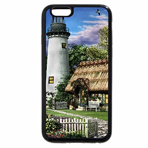 iPhone 6S Case, iPhone 6 Case (Black & White) - Old Mission Lighthouse F1
