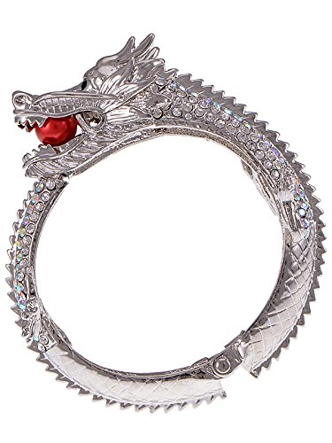Alilang Womens Silvery Tone Iridescent Rhinestones Asian Zodiac Dragon Bangle (Cheap Asian Costume Jewellery)
