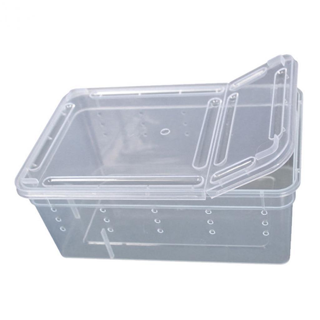 Hearsbeauty Plastique Transparente des Amphibiens Insectes Reptile élevage Boîte de Transport d'alimentation pour Portables