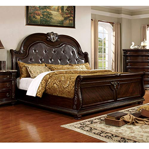 Furniture of America Goodwell Traditional Brown Cherry Tufted Leather Camel-Back Sleigh Bed Queen ()