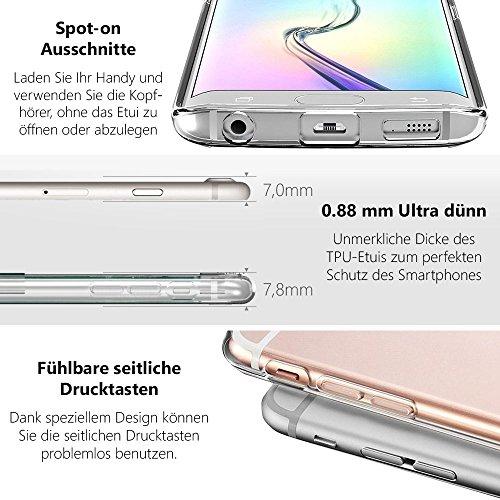 EGO® Double Touch Case + GRATIS Ladekabel Armband für iPhone 6 Plus 6S Plus 5,5'' 360 ° Grad komplette TPU Silikon Hülle vorne hinten Beidseitiger Schutz Full Handy Tasche transparent Front Back doppe