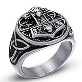 Woogge Men's Viking Ring Stainless Steel Odin Symbol Scandinavian Vikings Thor's Hammer Valknut Warrior's Gothic Jewelry Ring Size US 8-13 (13)