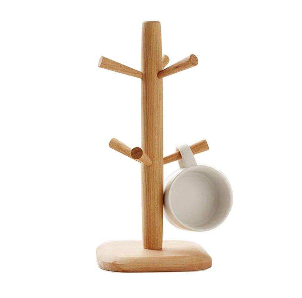 Wood Mug Tree Rack Stand,Cup Holder with 6 Storage hooks