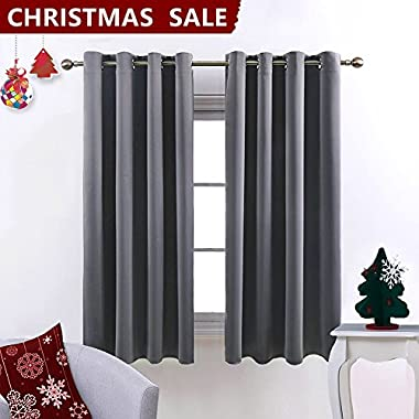 Nicetown Blackout Curtains for Bedroom /Living Room (2 Panels, W52 x L63 inch, Grey)