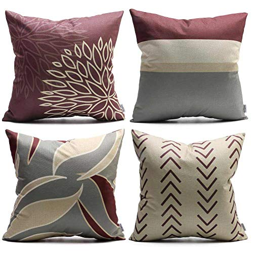 DANLIA Christmas Chevron Strip Throw Pillow Case, 18x18 Set of 4 Wine Maroon Natural Cream Gray Large Geometric Decorative Cushion Pillow Cover for Couch Bed Sofa Farmhouse (Maroon Set Sofa)