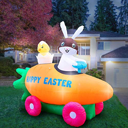 Holidayana 8 Foot Inflatable Easter Bunny Driving Carrot Car with Baby Chick in Egg Decoration, Includes Built-in Bulbs, Tie-Down Points, and Powerful Built-in Fan