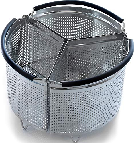 3-Piece Divided Steamer Basket for Instant Pot Accessories 8qt [3qt 6qt avail] fits InstaPot, Ninja Foodi, Other Pressure Cookers, Strainer Insert for Insta Pot Ultra, Cook 3-in-1, for Instant Pot 8Qt