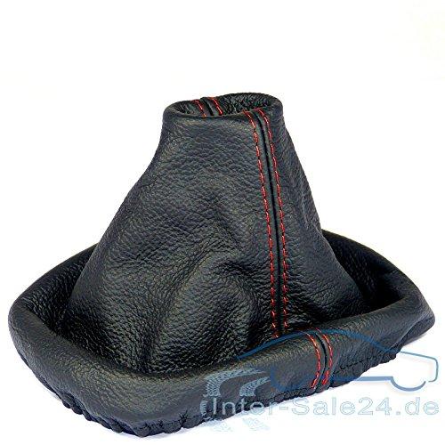 L&P A0229 Soufflet Sac Manchette manchon de commutation 100% cuir vé ritable veritable noir noire couture fil rouge transmission manuelle boî te boite vitesse vitesses changement vitesse Inter-Sale