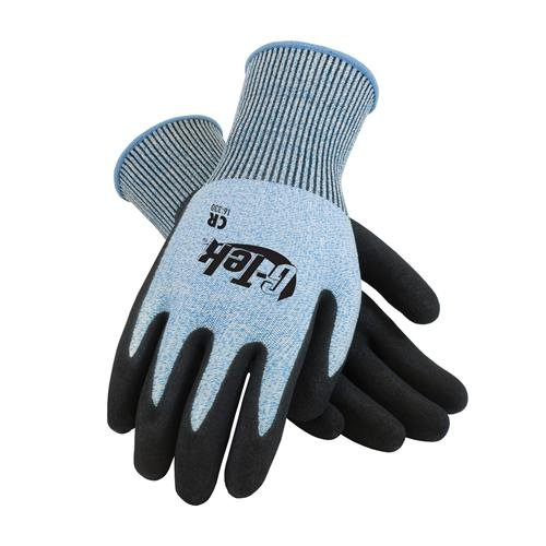 G-Tek CR, Blue and White HPPE 13 Gauge Seamless Knit Shell, Black Micro-Surface Nitrile Coated Palm and Fingers, M