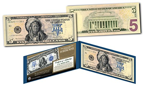 Five Dollar Silver Certificate (1899 Native American Indian Chief $5 Banknote on Genuine Official Modern $5 Bill)