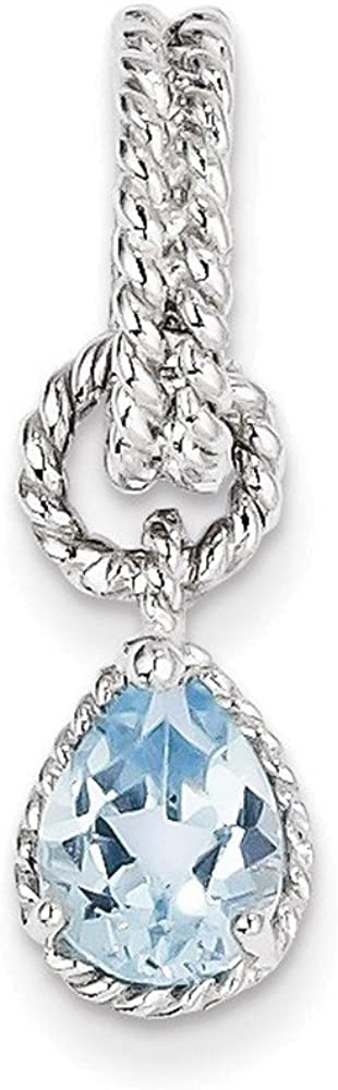 Sterling Silver Rhodium Blue Topaz Pear Twisted Pendant