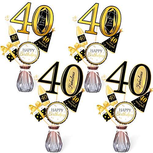 Qpout Oro Negro Palitos de Centro de Mesa de 40 cumpleanos-40 cumpleanos Toppers-Decoraciones de cumpleanos Accesorios de Fiesta- 40 Fabuloso -me Alegra a 40 anos