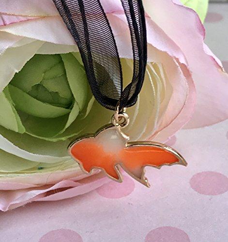 Glow in the Dark Orange and White Koi Goldfish Charm Pendant Necklace