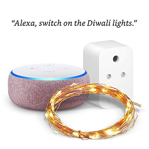 Echo Dot (Purple) combo with Amazon Smart Plug and 50 LED Copper Fairy Lights   Festive Pack – Voice Control Diwali…