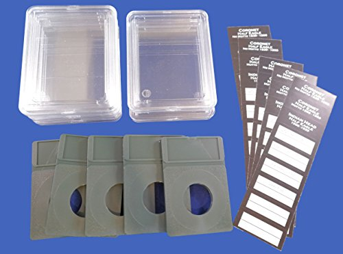 5 Pak Premier Slab Style Coin Holder for Coronet & Indian Head Half Eagle $5 Gold Piece with Labels