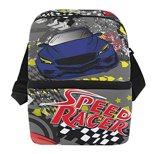 (Speed Racer Car Insulated Lunch Bag for Women Men Adult Lunch Box Cooler Shoulder Strap Meal Prep Large Lunch Tote School Office)
