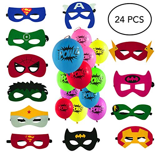 Lorenz Novelties Superhero Masks, Punch Balloons. 12 Balloons, 12 Masks. Party Favors for Kids. Birthday Supplies.