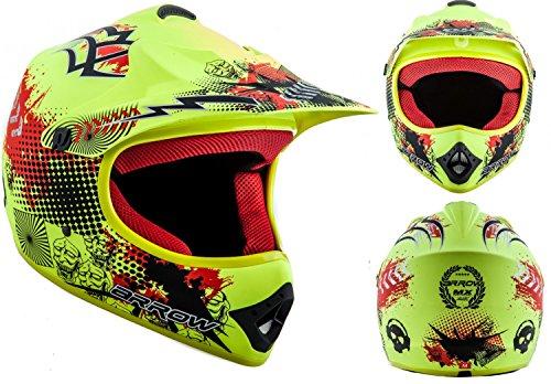 ARROW AKC-49 Limited Yellow · Helmet Kinder-Helm Moto-Cross-Helm Kids Quad Pocket-Bike Sport Junior Enduro MX Cross-Bike Motorrad-Helm Kinder-Cross-Helm Cross-Helm ,DOT zertifiziert ,inkl. Stofftragetasche ,Gelb · XS (51-52cm)
