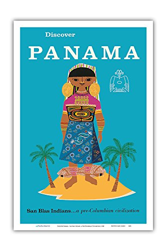 Discover Panama - San Blas Indians.a Pre-Columbian Civilization - Vintage World Travel Poster c.1960 - Master Art Print - 12in x 18in
