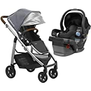 2018 UPPABaby CRUZ Stroller - Gregory (Blue Melange/Silver/Saddle Leather) + MESA - Jake (Black)