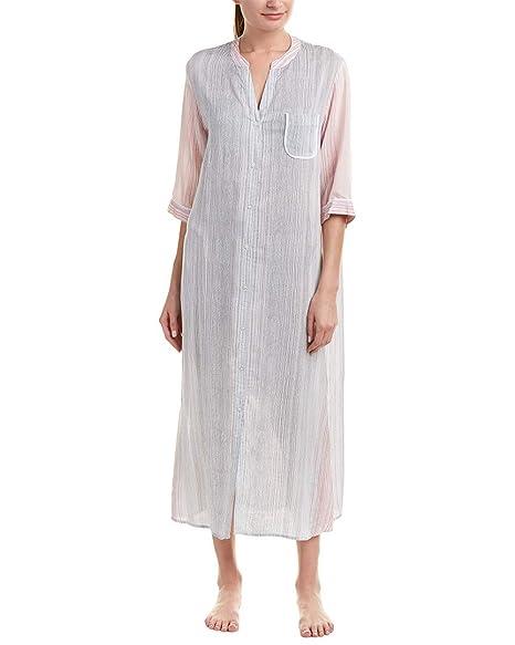 bbe95b6717ed0c Donna Karan Women s Striped Maxi Sleepshirt Almond Stripe Small at Amazon  Women s Clothing store