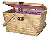 Natural Woven Woodchip Large Picnic Basket Red and White Gingham Pattern Lining Strong Wooden Folding Handles with Metal Lock Leather Strap