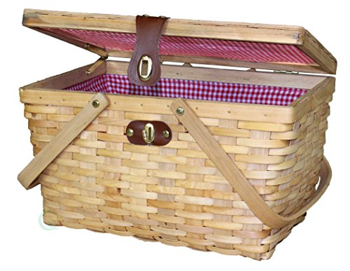 Sale!! Vintiquewise QI003148N Woodchip Large Picnic Basket Red and White Gingham Lining Folding Hand...