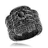 Luxurman Hip Hop Jewelry 14K Mens Black Natural 20 Ctw Diamonds Ring (Rhodium Plated Gold Size 10)