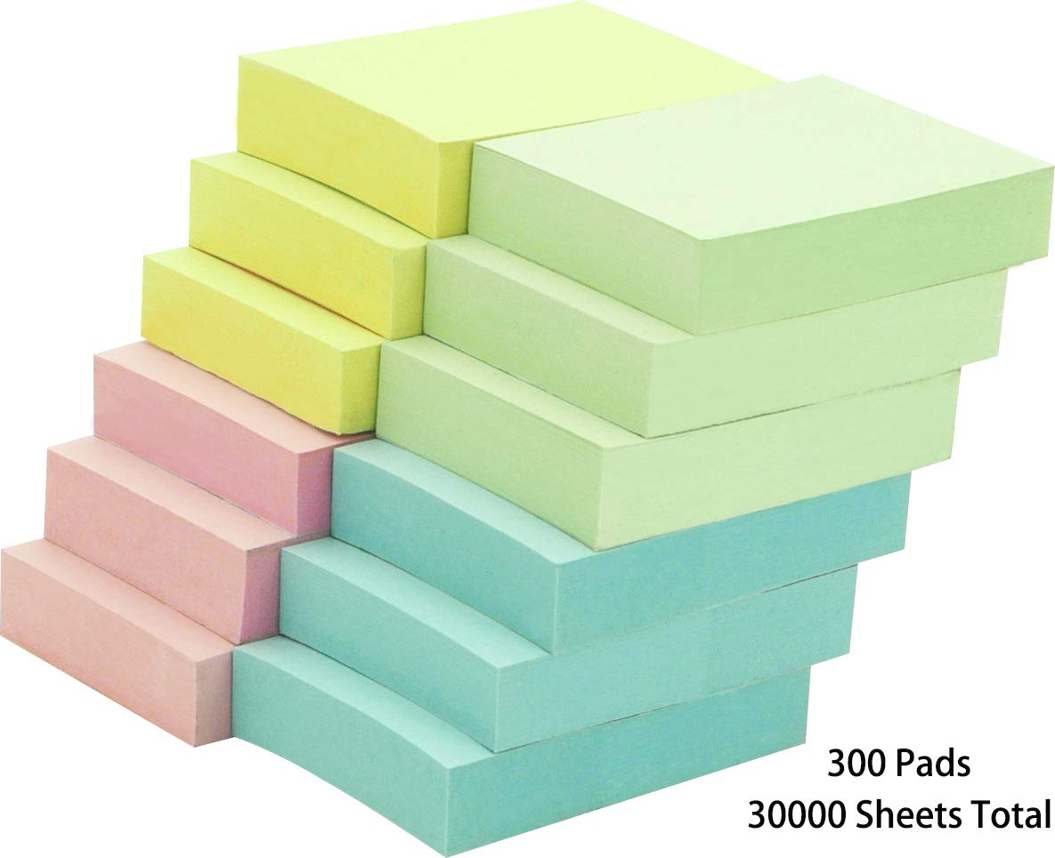 4A Sticky Notes,1 1/2 x 2 Inches,Small Size,The Adhesive On Shorter Side,Pastel Assorted,Self-Stick Notes,100 Sheets/Pad,12 Pads/Pack,25 Packs,4A 301x12