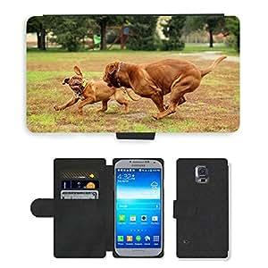 CARD POCKET BOOK CASE PU LEATHER CASE // M00103839 Perro Dogo de Burdeos Perros Burdeos // Samsung Galaxy S5 S V SV i9600 (Not Fits S5 ACTIVE)