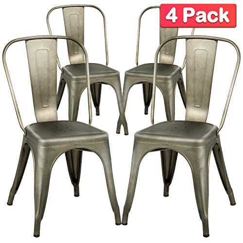 Dining Chairs Set of 4 Metal Chairs Patio Chair Dining Room Kitchen Chair 18 Inches Seat Height Tolix Restaurant Chairs Trattoria Metal Indoor Outdoor Chairs Bar Stackable Chair (Patio Set Seat Black 6)